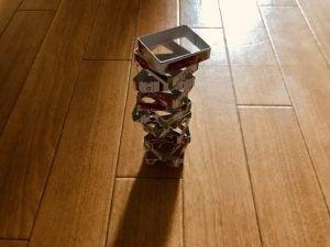 【高齢者室内レクリエーション】S&Bきざみ青じその空き箱を使って『積み上げゲーム』