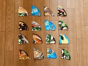 【高齢者(在宅介護)室内レクリエーション】カップ麺のふたを使って『4枚手作りジグソーパズルゲーム』