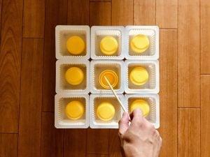 【高齢者・子供室内レクリエーション】ドレッシングキャップとお豆腐の容器と割り箸を使って『9個大たこ焼きゲーム』